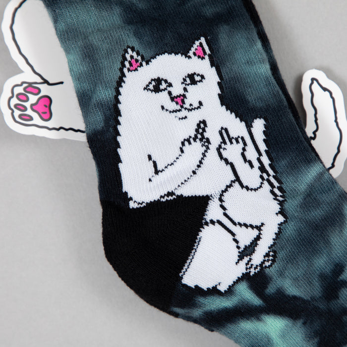 RIPNDIP Lord Nermal Ribbed Socks in GREEN TIE DYE