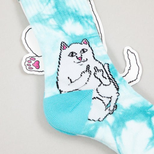 Lord Nermal Ribbed Socks in BABY BLUE TIE DYERIPNDIP - CACTWS