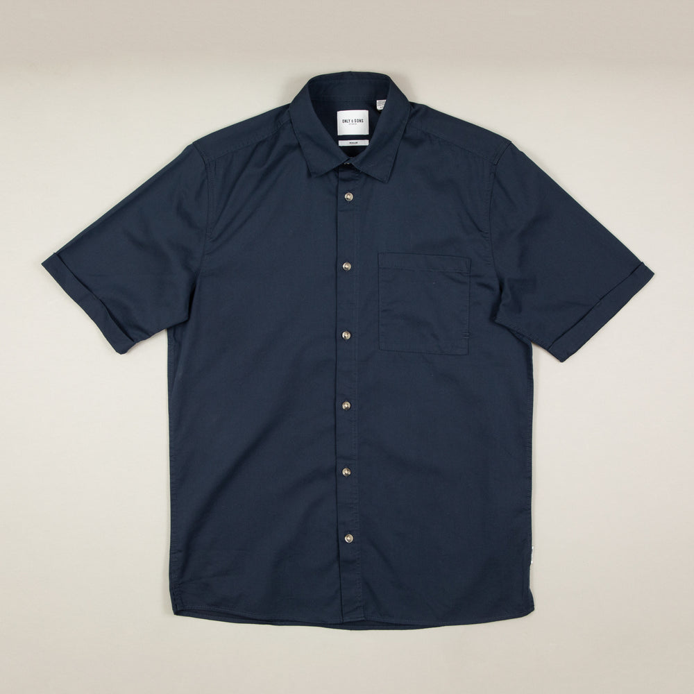 Michael Short Sleeve Tencel Shirt in DRESS BLUESONLY AND SONS - CACTWS