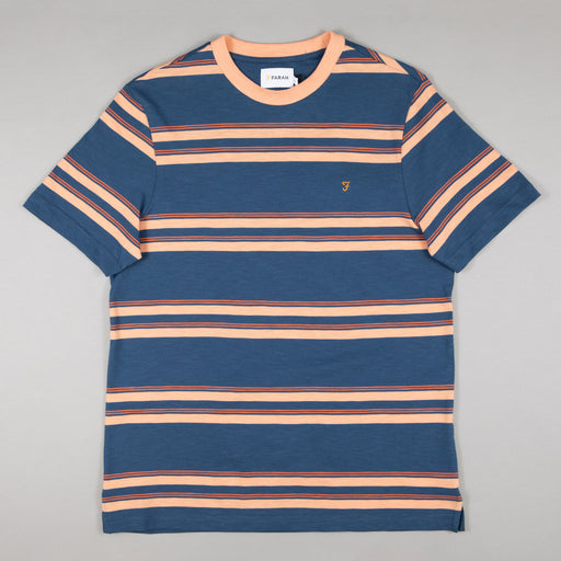 FARAH Mission Short Sleeve Striped Tee in COLD METAL