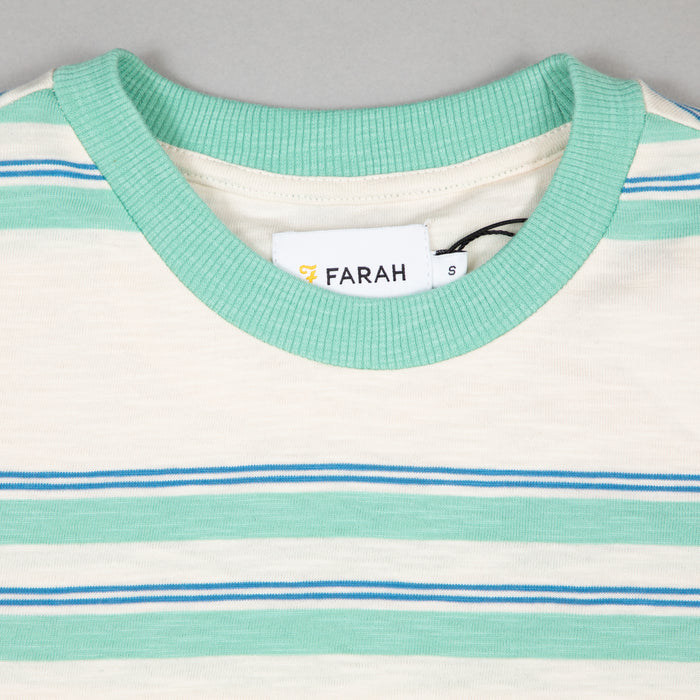 FARAH Mission Short Sleeve Striped Tee in CREAM