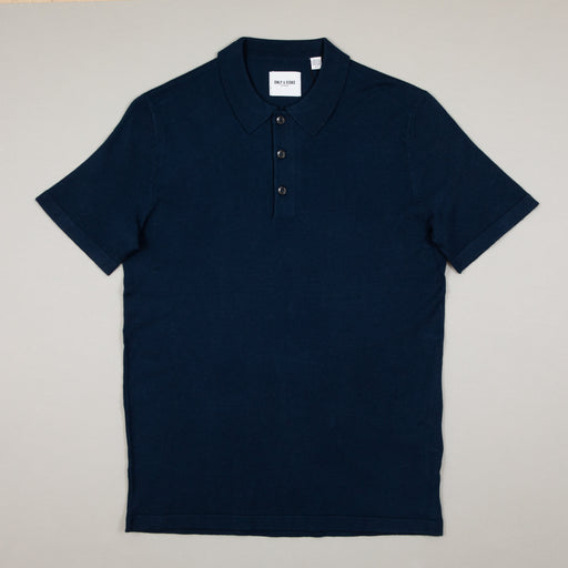 Nestor Blend Polo Knit in DRESS BLUESONLY AND SONS - CACTWS