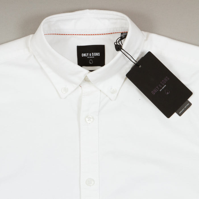 Oliver Long Sleeve Organic Oxford Shirt in WHITEONLY AND SONS - CACTWS