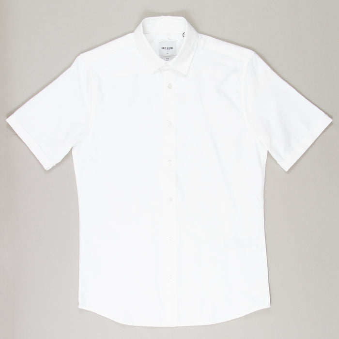 Travis Short Sleeve Solid Shirt in WHITEONLY AND SONS - CACTWS
