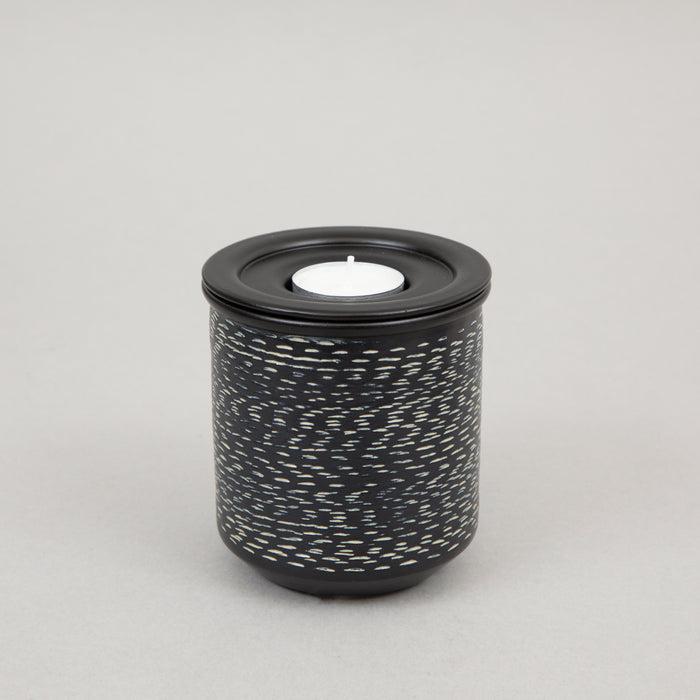 LIGHT & LIVING ORAWIA Tea Light Holder & Container in BLACK