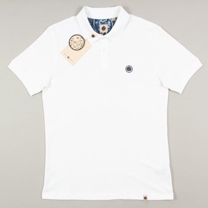 Jersey Polo Shirt in WHITEPRETTY GREEN - CACTWS