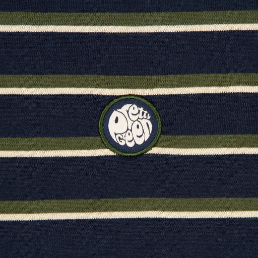 Long Sleeve Striped T-Shirt in NAVYPRETTY GREEN - CACTWS