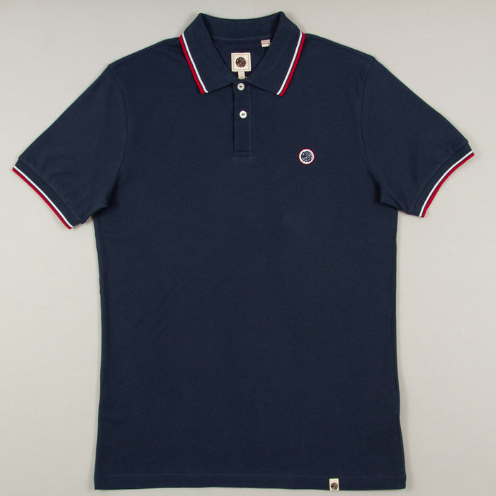 Tipped Pique Polo Shirt in NAVYPRETTY GREEN - CACTWS