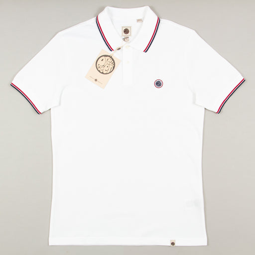 Tipped Pique Polo Shirt in WHITEPRETTY GREEN - CACTWS