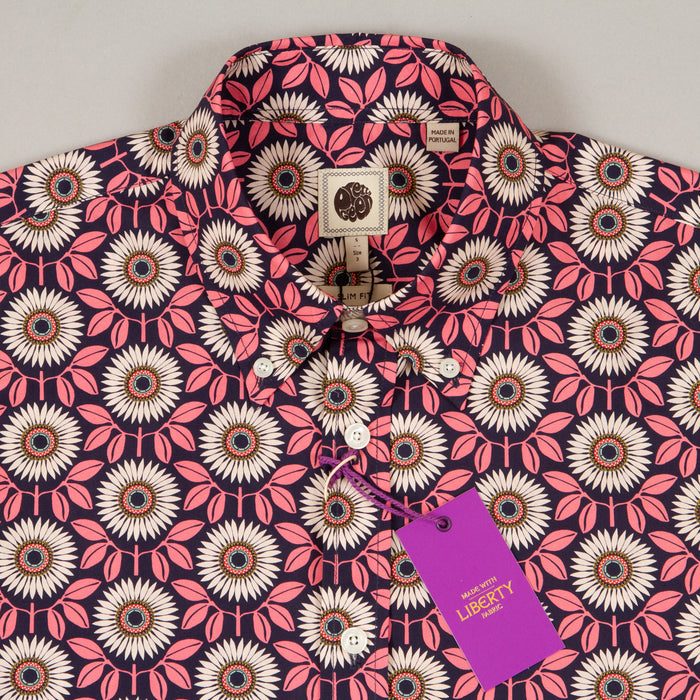 LIBERTY PRINT Floral Shirt in PINKPRETTY GREEN - CACTWS