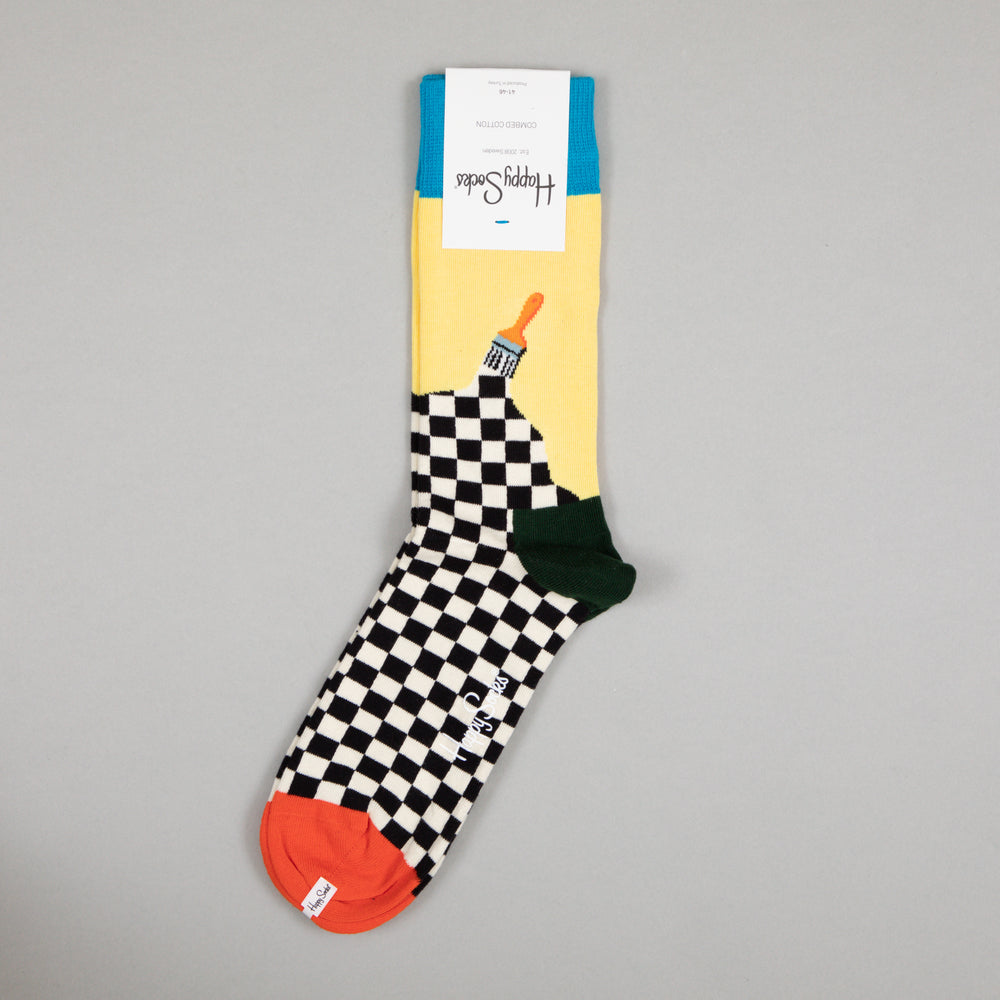 HAPPY SOCKS Paint Socks in BLUE, YELLOW & CHECKERBOARD