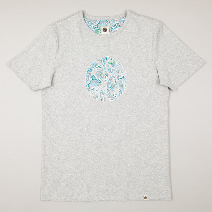 Paisley Print Appliqué Tee in GREYPRETTY GREEN - CACTWS