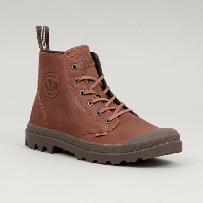PALLADIUM Pampa Leather Boots in MAHOGANY BROWN