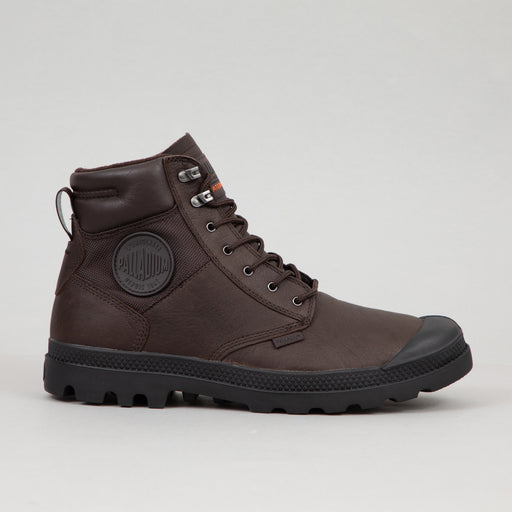 PALLADIUM Pampa Shield Waterproof Leather Boots in DARK BROWN