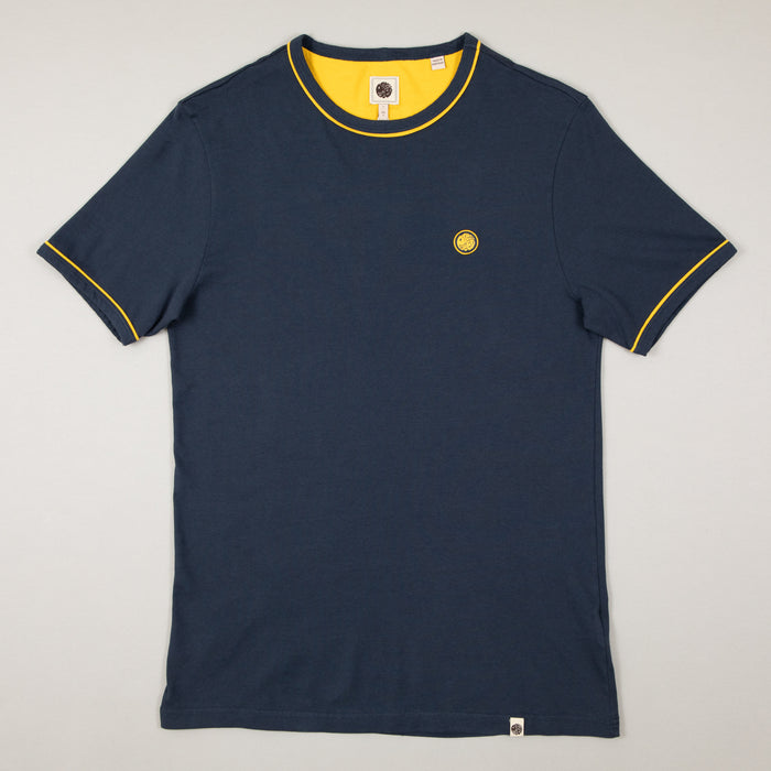 Ollier Piping Tipped Tee in NAVY & YELLOWPRETTY GREEN - CACTWS