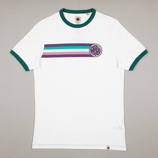 Pretty Green Stripe Printed T-Shirt in WHITEPRETTY GREEN - CACTWS