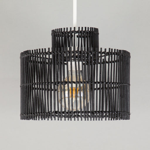 RODGER Bamboo Cylinder Shade in BLACK (SMALL)
