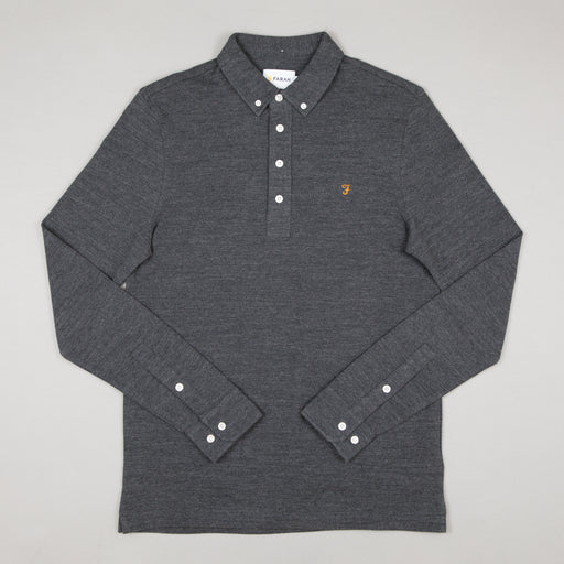 FARAH Ricky Long Sleeve Polo in GREY MARL