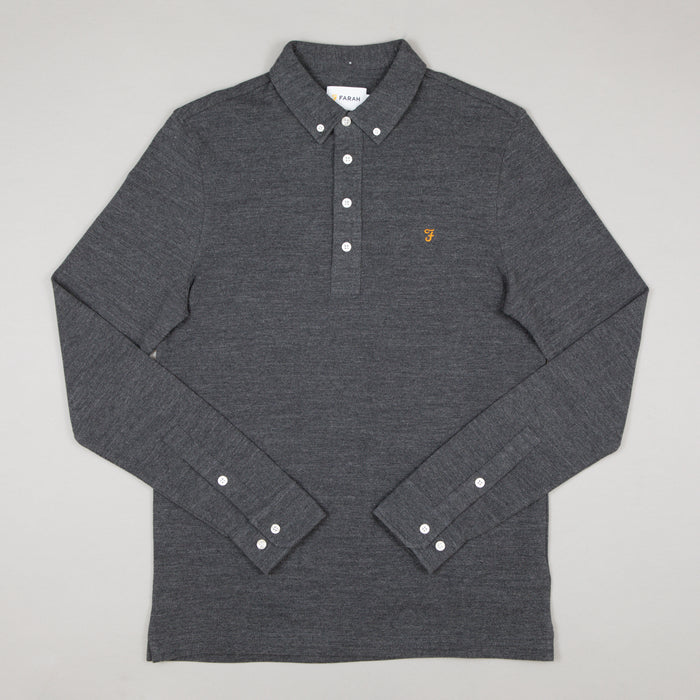 Ricky Long Sleeve Polo in GREY MARL