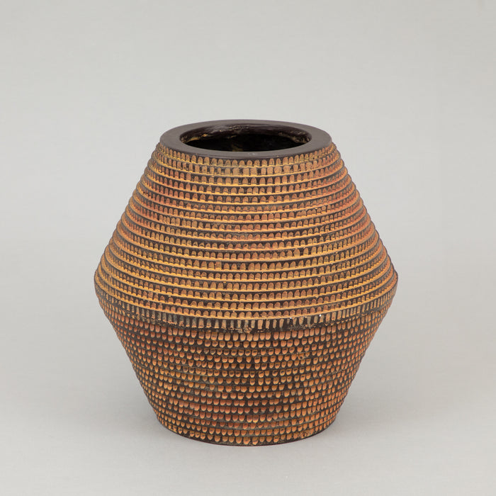 Small Striped Fibre Clay Flower Vase in BROWN