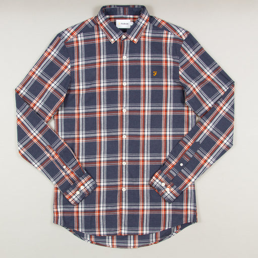 Steen Check Long Sleeve Shirt in FARAH TEAL MARL