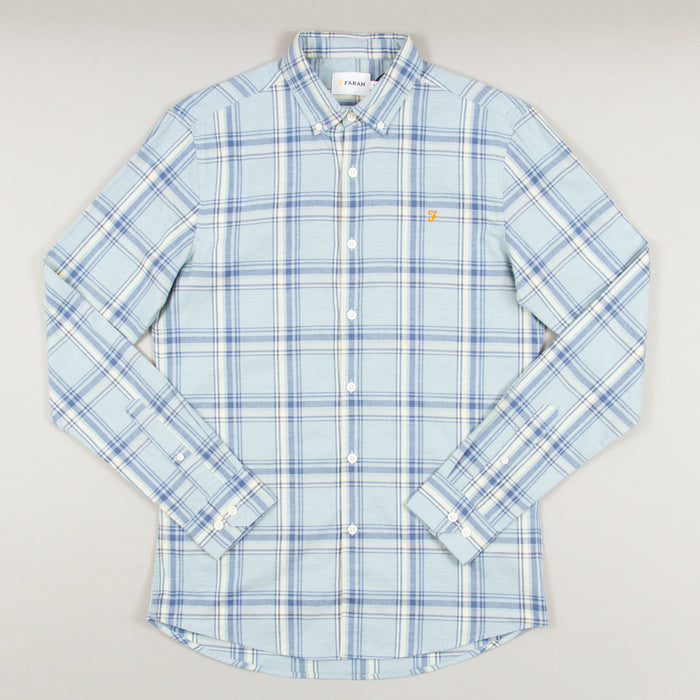 Steen Check Long Sleeve Shirt in GREEN MIST MARLFARAH - CACTWS