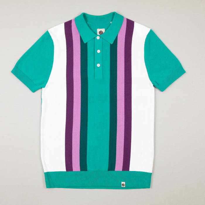 Stripe Knitted Polo in GREENPRETTY GREEN - CACTWS