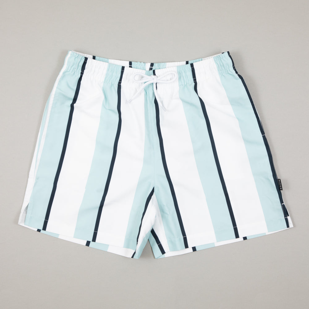 Stripe Swim Shorts in WHITE & STERLING BLUENICCE - CACTWS
