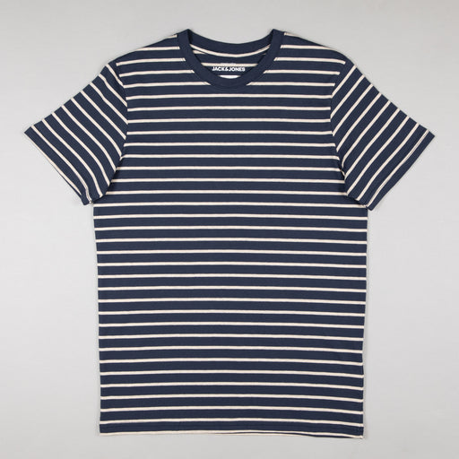 JACK & JONES Striped Short Sleeve Tee in NAVY BLAZER