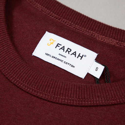 FARAH Tim Crew Neck Sweat in RED MARL