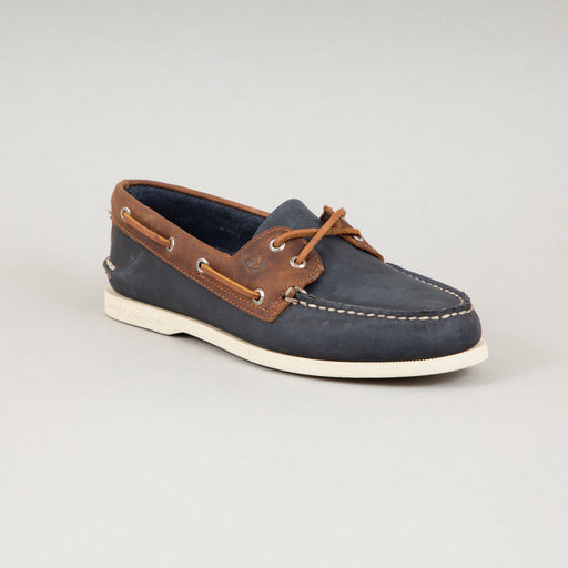Topsider Authentic Original 2 Eye Boat Shoe in NAVY & BROWN LEATHERSPERRY - CACTWS