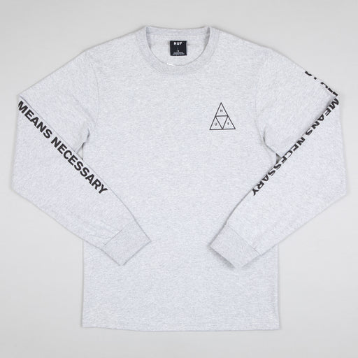 Triple Triangle Long Sleeve T-Shirt in GREY HEATHER