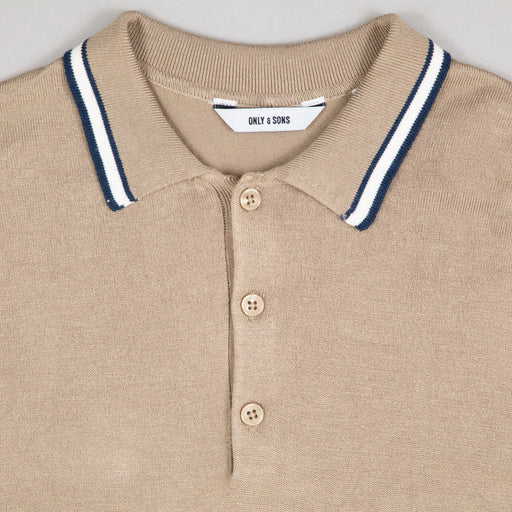 ONLY & SONS Adam Knit Polo Shirt in CHINCHILLA