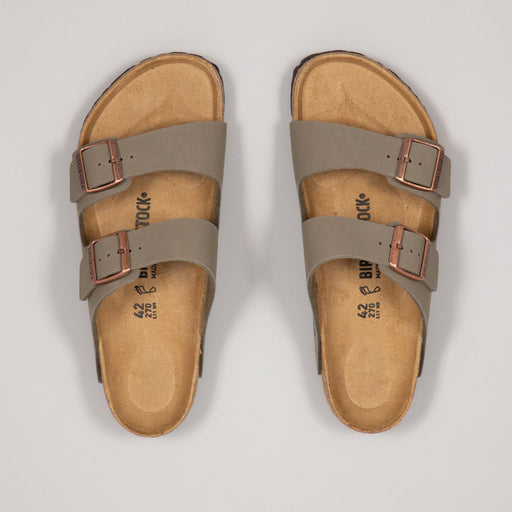 BIRKENSTOCK Arizona Birko-Flor Nubuck Sandals in STONE