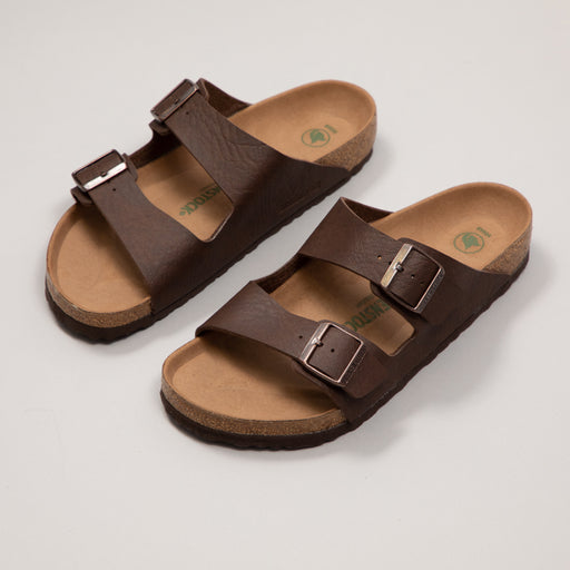 BIRKENSTOCK Arizona Birko-Flor Vegan Sandals in SADDLE MATT BROWN
