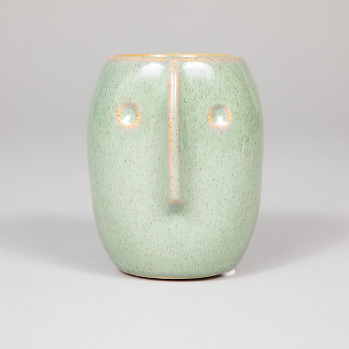 MADAM STOLTZ Ceramic Plant Pot With Face Imprint in GREEN