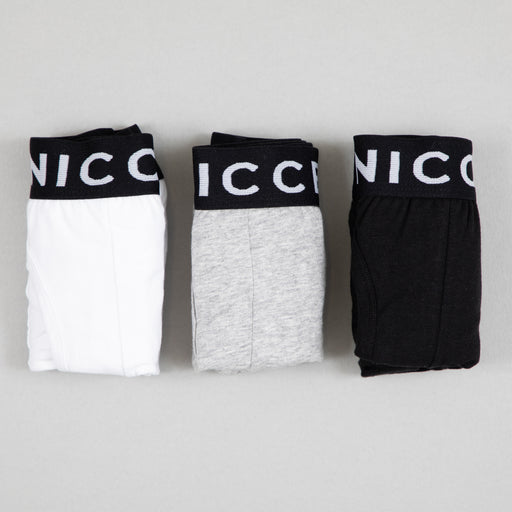 NICCE Codular 3-Pack Boxer Shorts in BLACK, GREY & WHITE