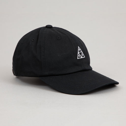 HUF Essentials Triple Triangle Curved Visor 6 Panel Cap in BLACK