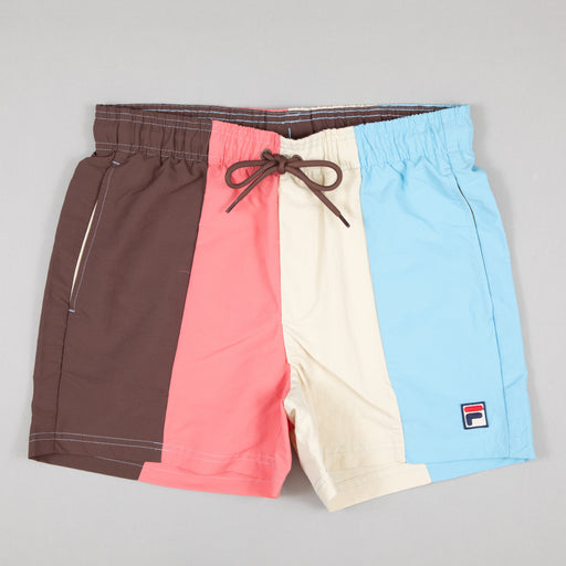 FILA Vintage Strung Striped Swim Shorts in FRENCH ROAST