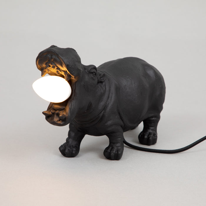 LIGHT & LIVING HIPPO Table lamp in MATT BLACK (27cm)