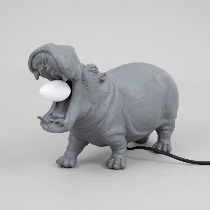 LIGHT & LIVING HIPPO Table lamp in MATT GREY (36cm)
