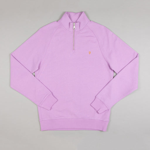 FARAH Jim Quarter Zip Sweater in LAVENDER PINK