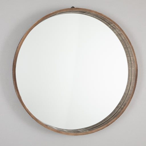 LIGHT & LIVING VIVIEN Round Wooden Wall Mirror