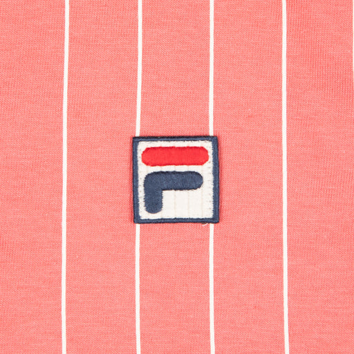 FILA Vintage BB1 Borg Striped Polo Shirt in TEA ROSE CORAL