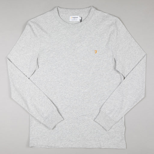 FARAH Worthington Long Sleeve Tee in GREY MARL