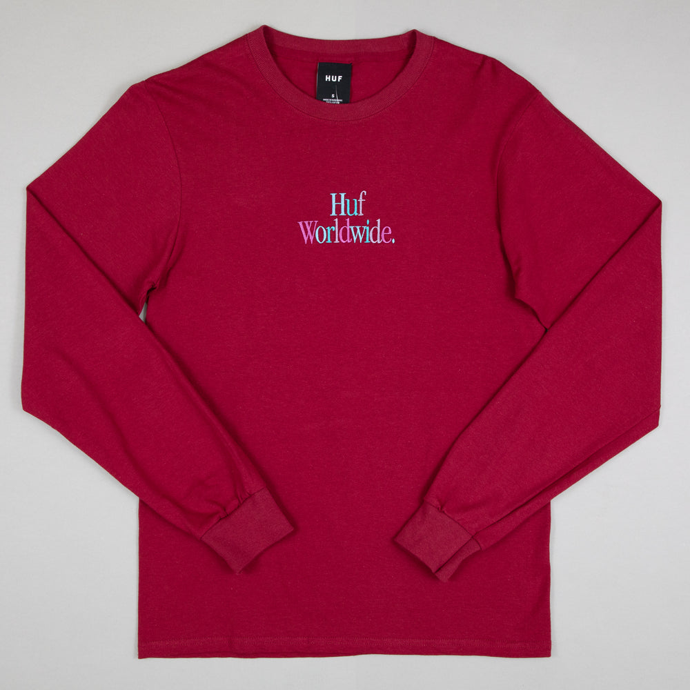 HUF Woz Embroidery Long Sleeve T-Shirt in BURGUNDY
