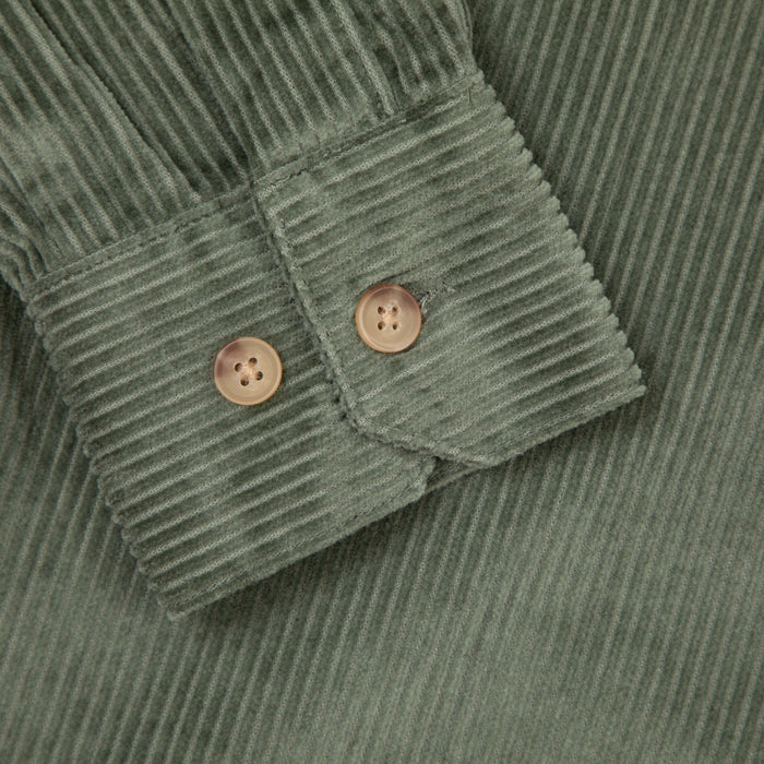 Wyman Casual Fit Cord Shirt in FERN GREEN