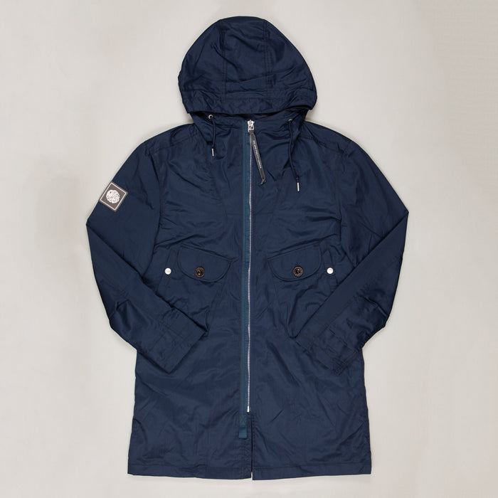 Metallic Zip Up Hooded Parka in NAVYPRETTY GREEN - CACTWS