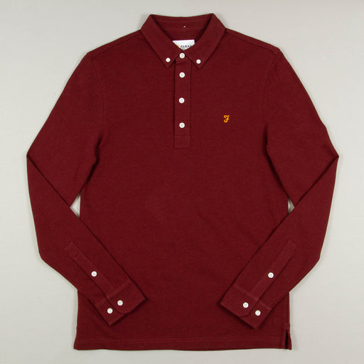 Ricky Long Sleeve Polo in FARAH RED MARL
