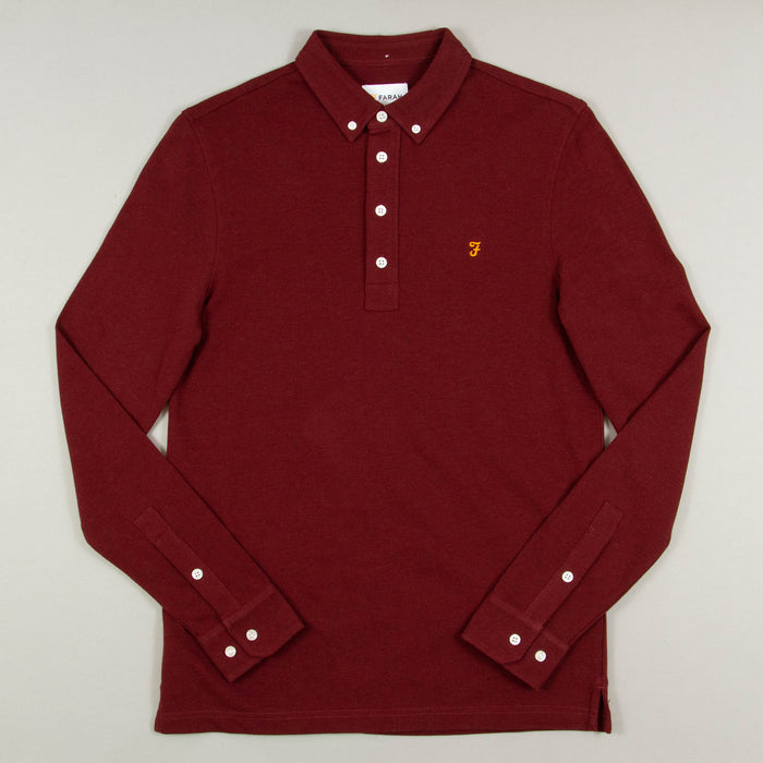 Ricky Long Sleeve Polo in FARAH RED MARLFARAH - CACTWS